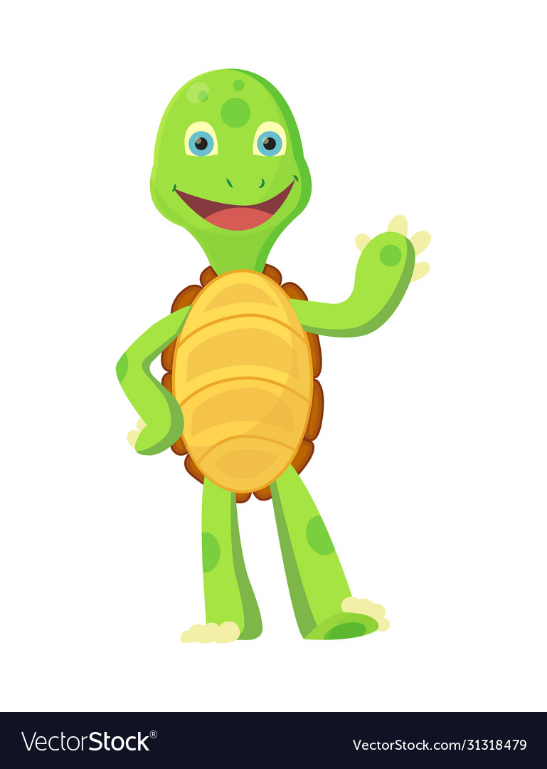 Happy young cartoon turtle rised hand up fanny