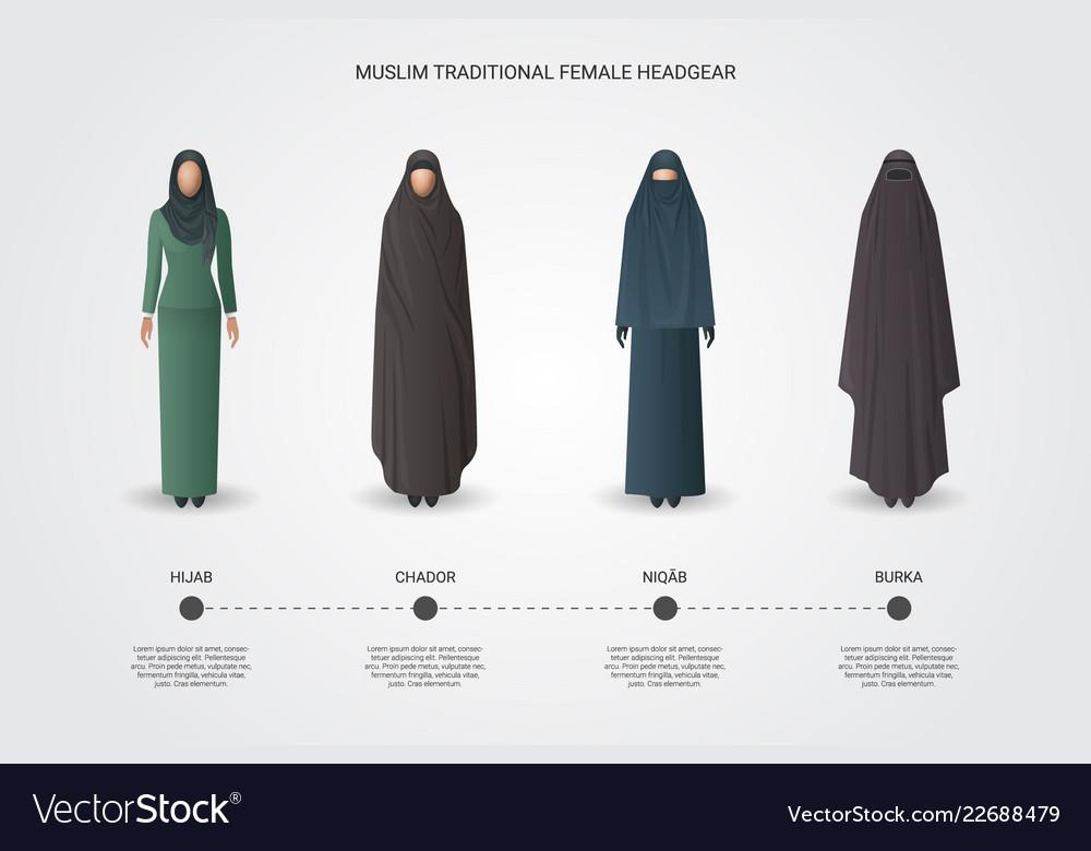 Muslim female headgear set