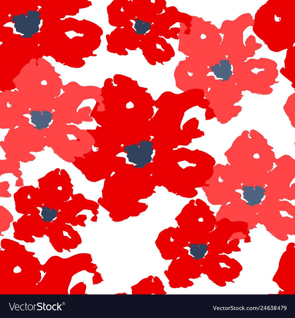 Red poppy seamless summer pattern on white