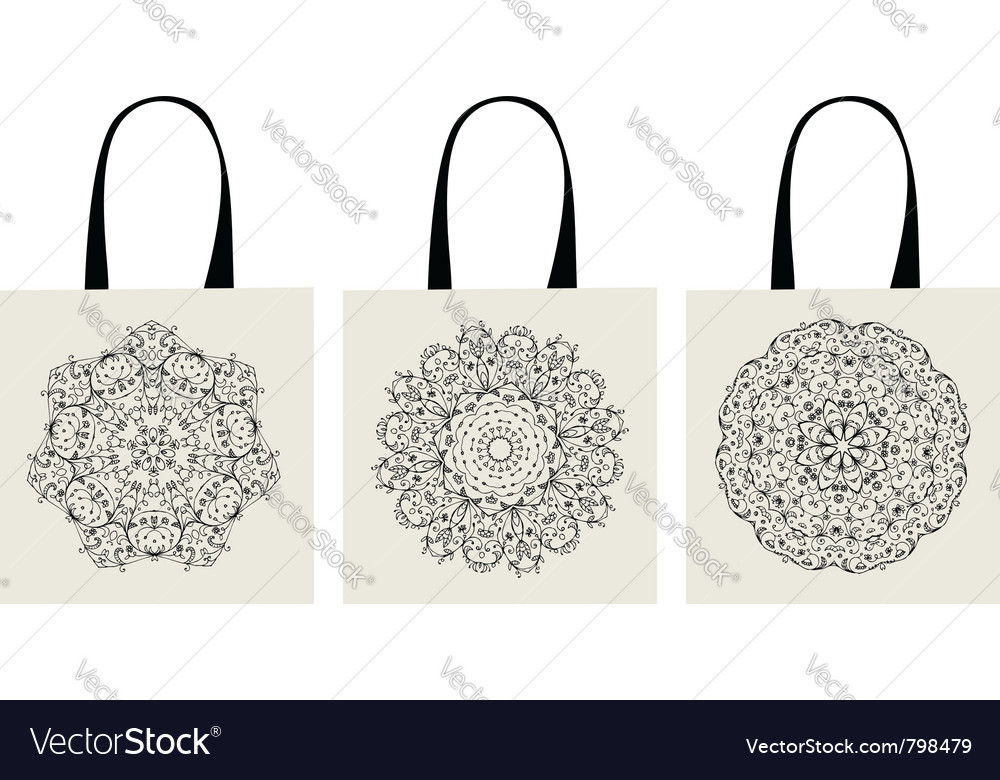 Shopping bag arabesque ornaments vector image