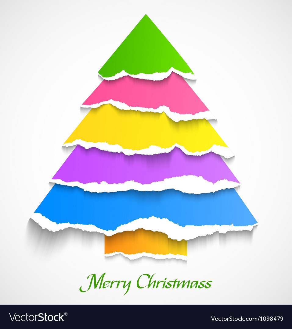 Colorful Christmas Tree Images.Torn Paper Colorful Christmas Tree