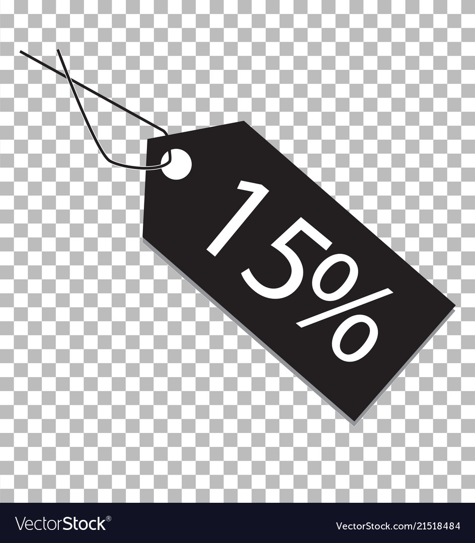 15 percent tag on transparent background 15