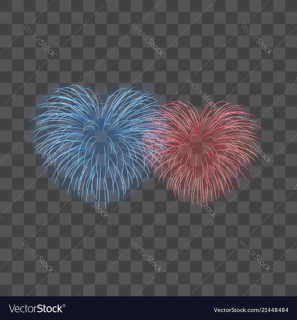 Beautiful heart-fireworks set bright romantic