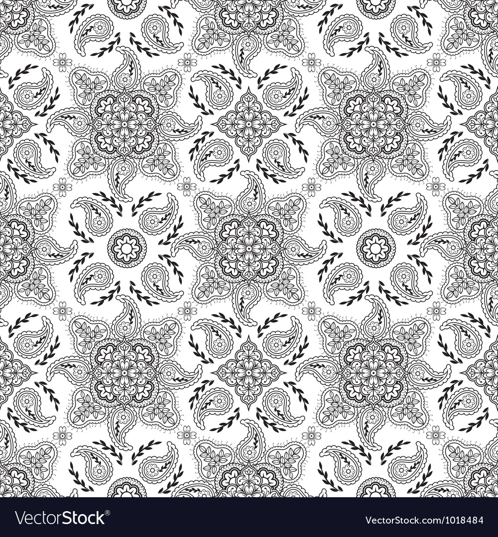 Black white paisly pattern vector image