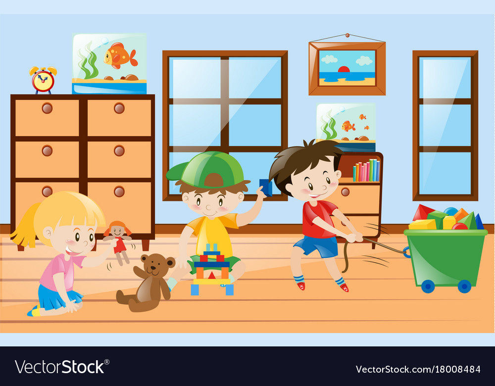 Children Playing Toys Inside The Room Royalty Free Vector