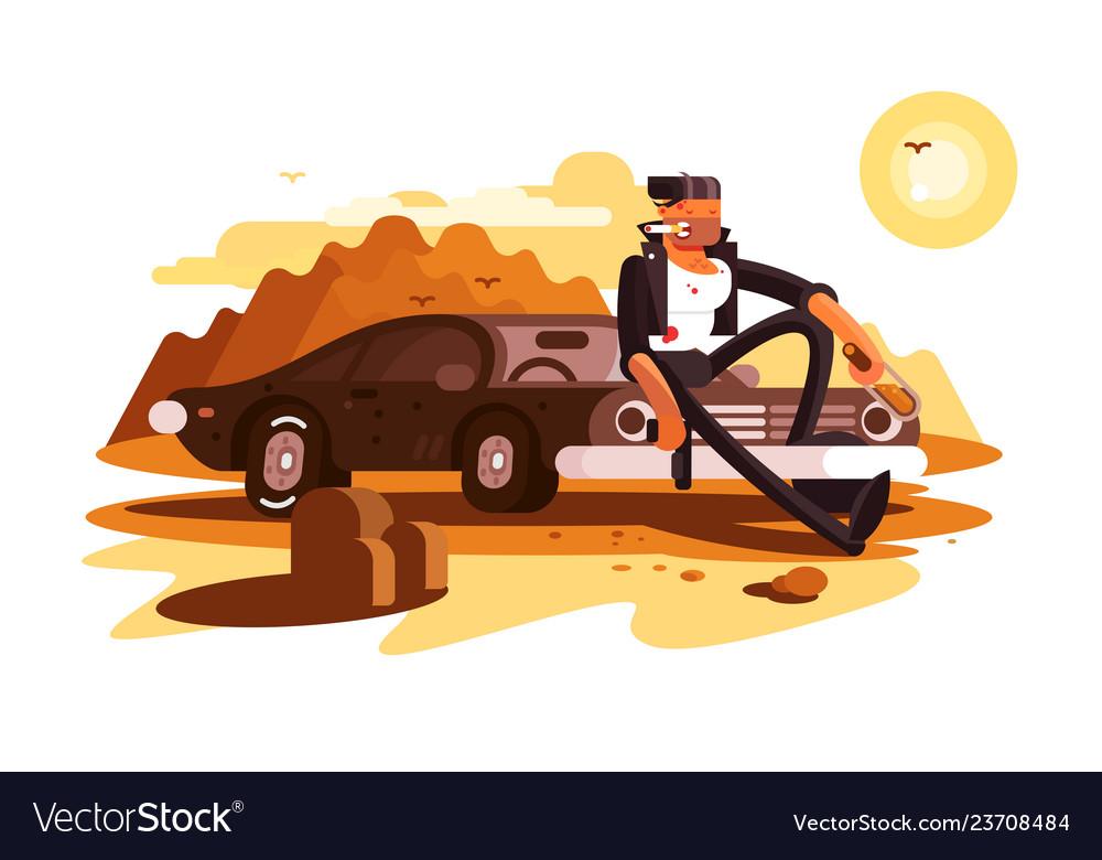 Cool tough guy sitting on car and smoking