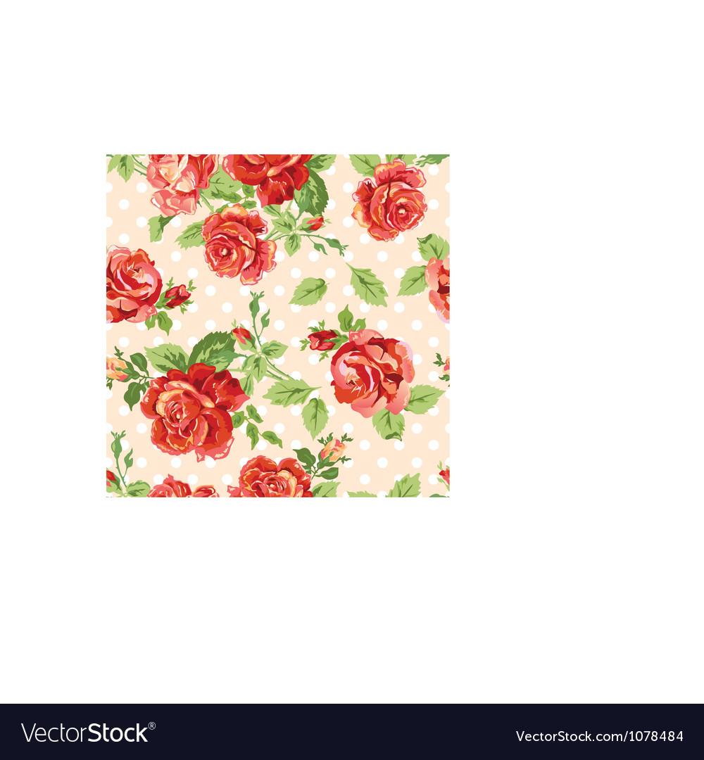 Fancy roses dotty cream background