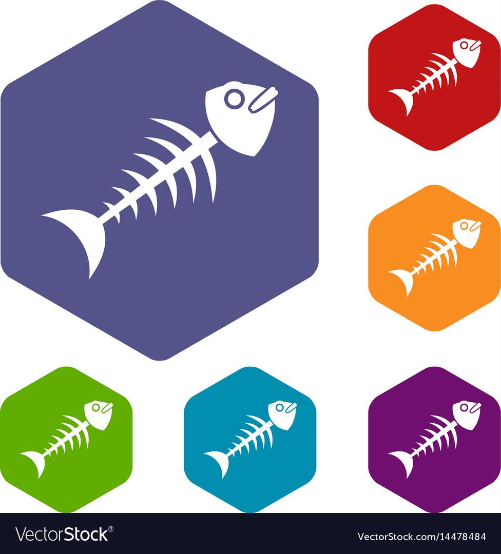 Fish bone icons set hexagon