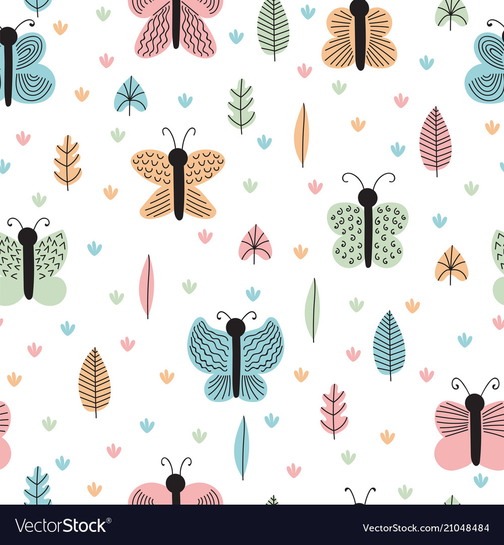 Hand drawn seamless pattern with butterflies and