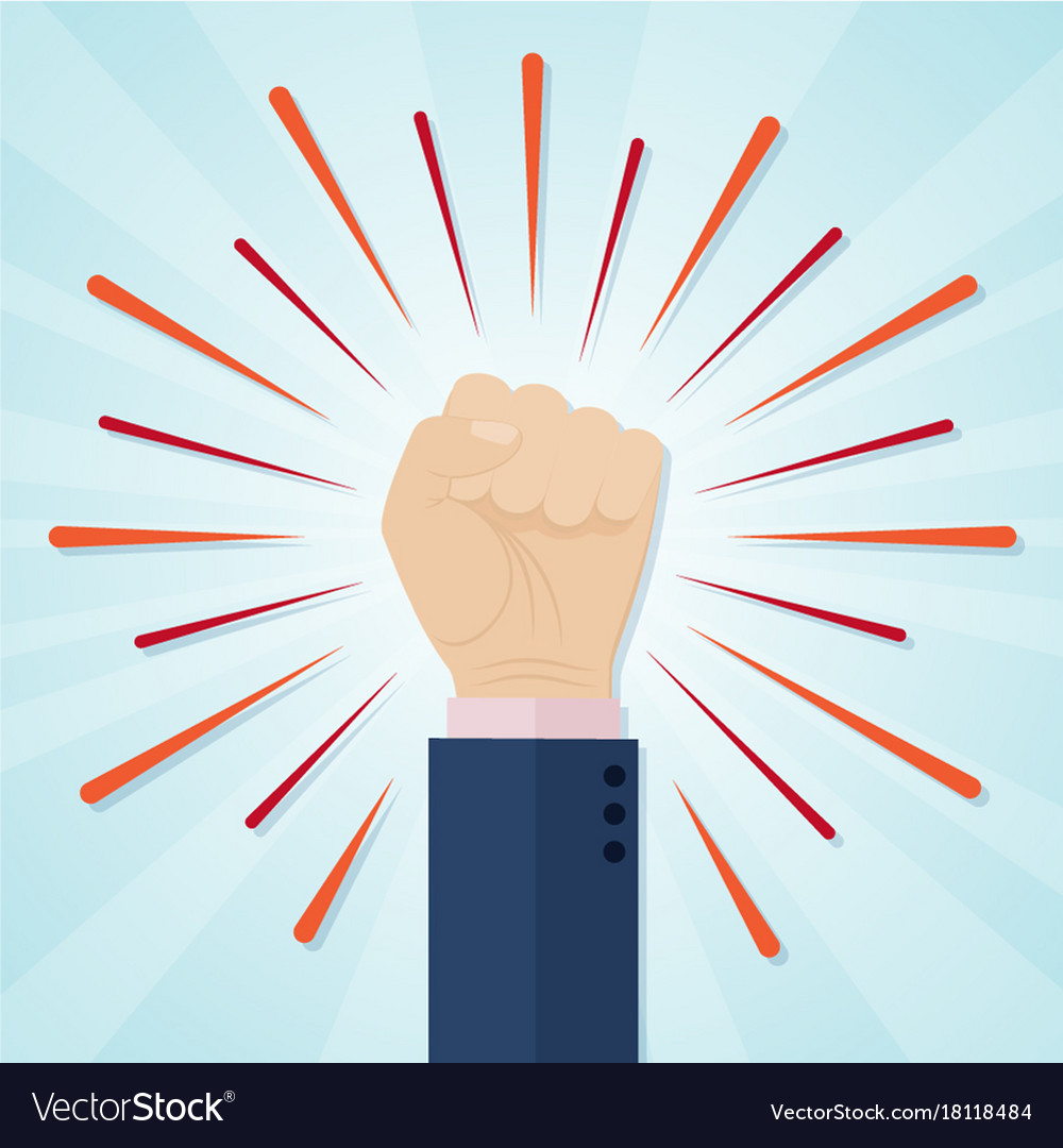 Hand showing raised fist on a radial comic vector image