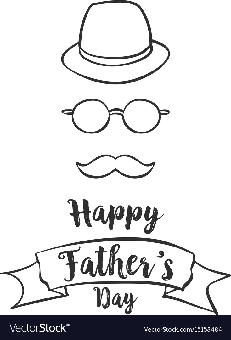 Happy father day hand draw style vector image