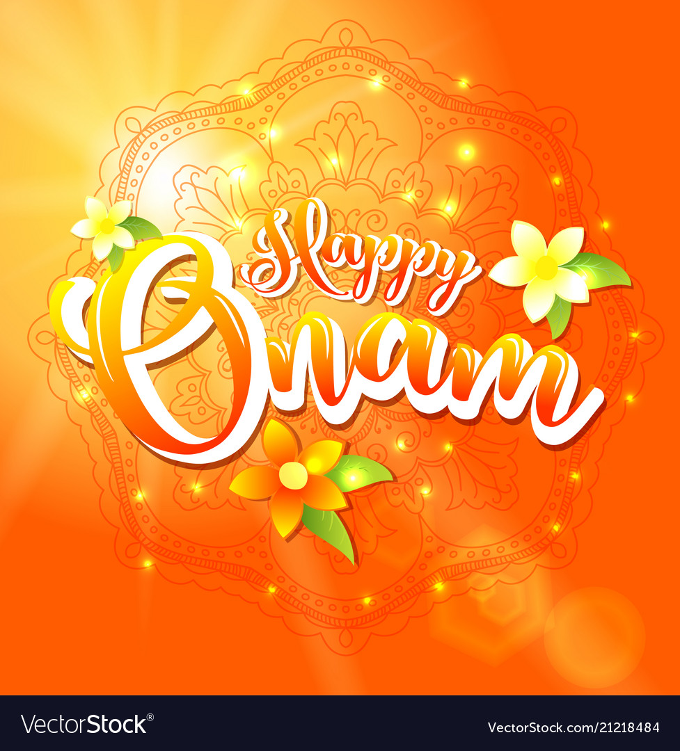 Happy onam background with floral and lettering