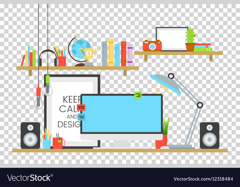 Office workplace design concept set with book vector image