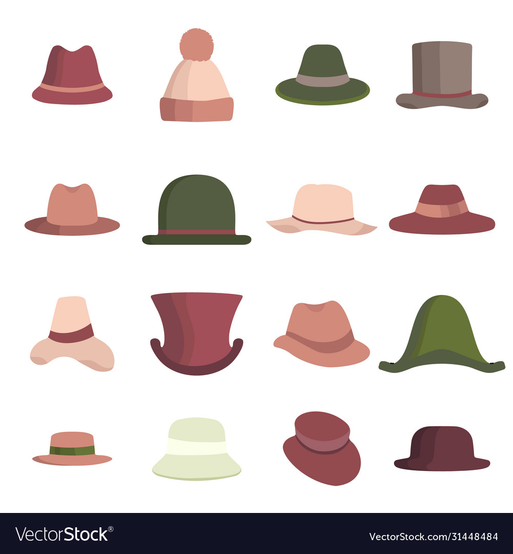 Set man and woman different hats head hat icon