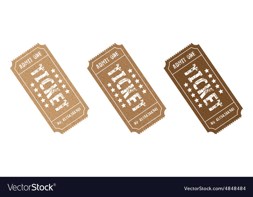 Three brown tickets vector image