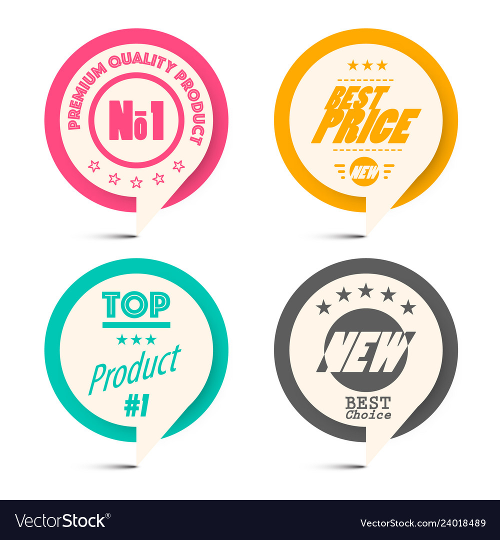 Circle paper retro labels set business label set