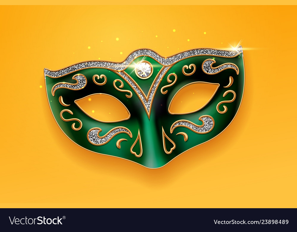 Colombina green mask decorated with diamonds