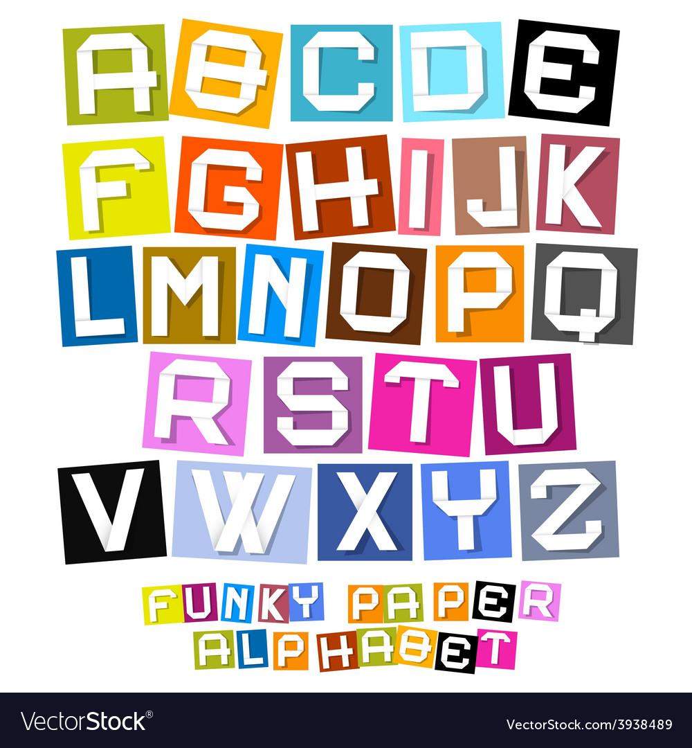 Colorful Paper Cut Funky Alphabet