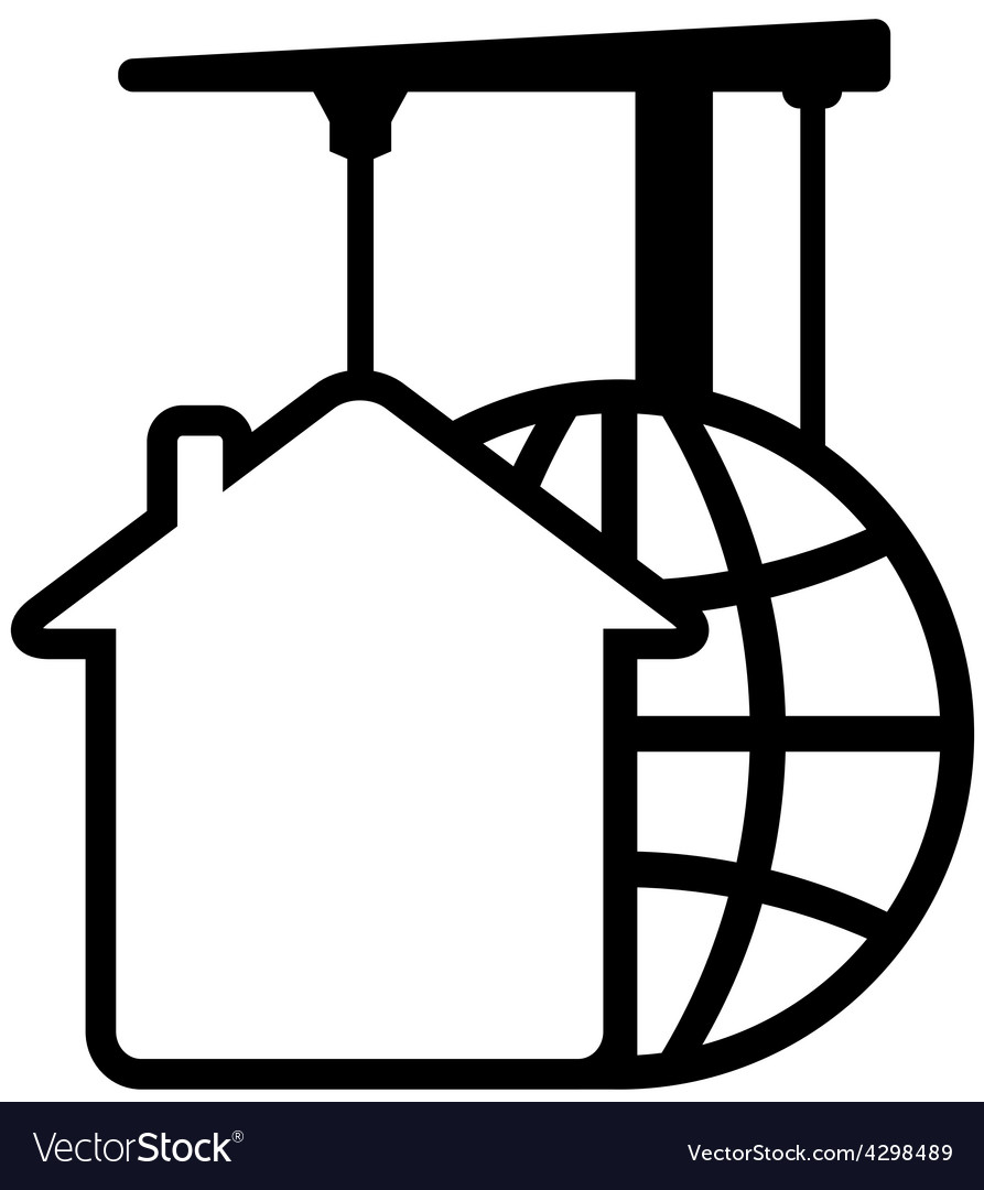 Construction icon with crane with planet and house