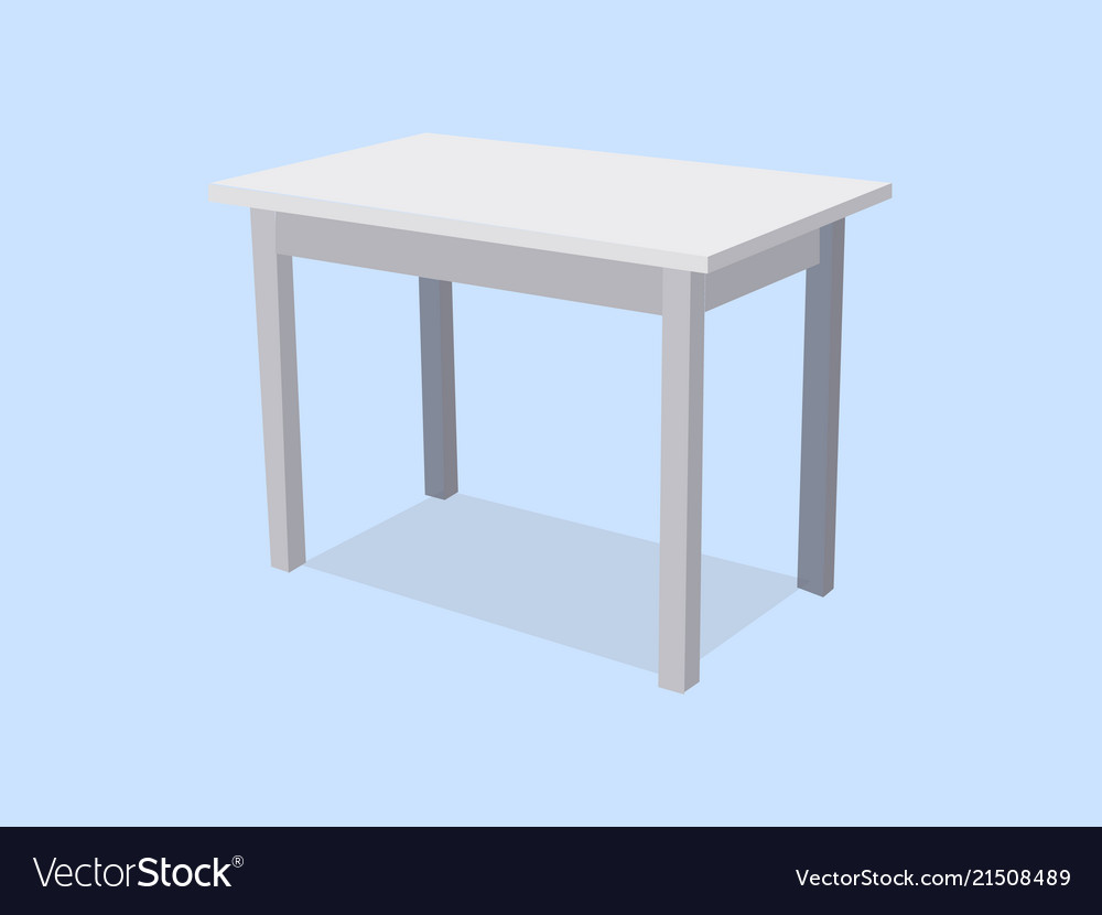 Empty white plastic table isolated on blue