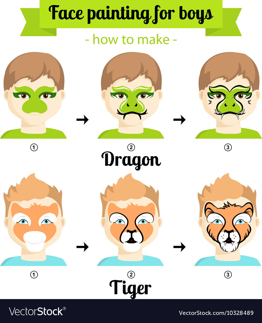 Face Painting Boys 3 Royalty Free Vector Image