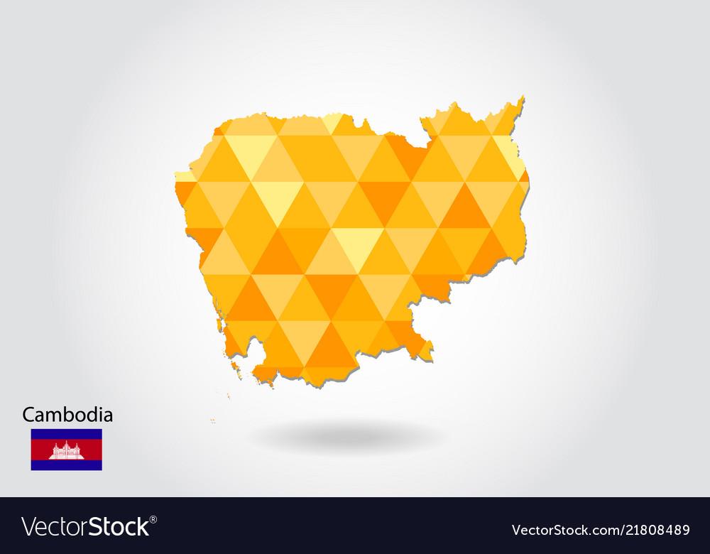 Geometric polygonal style map of cambodia low