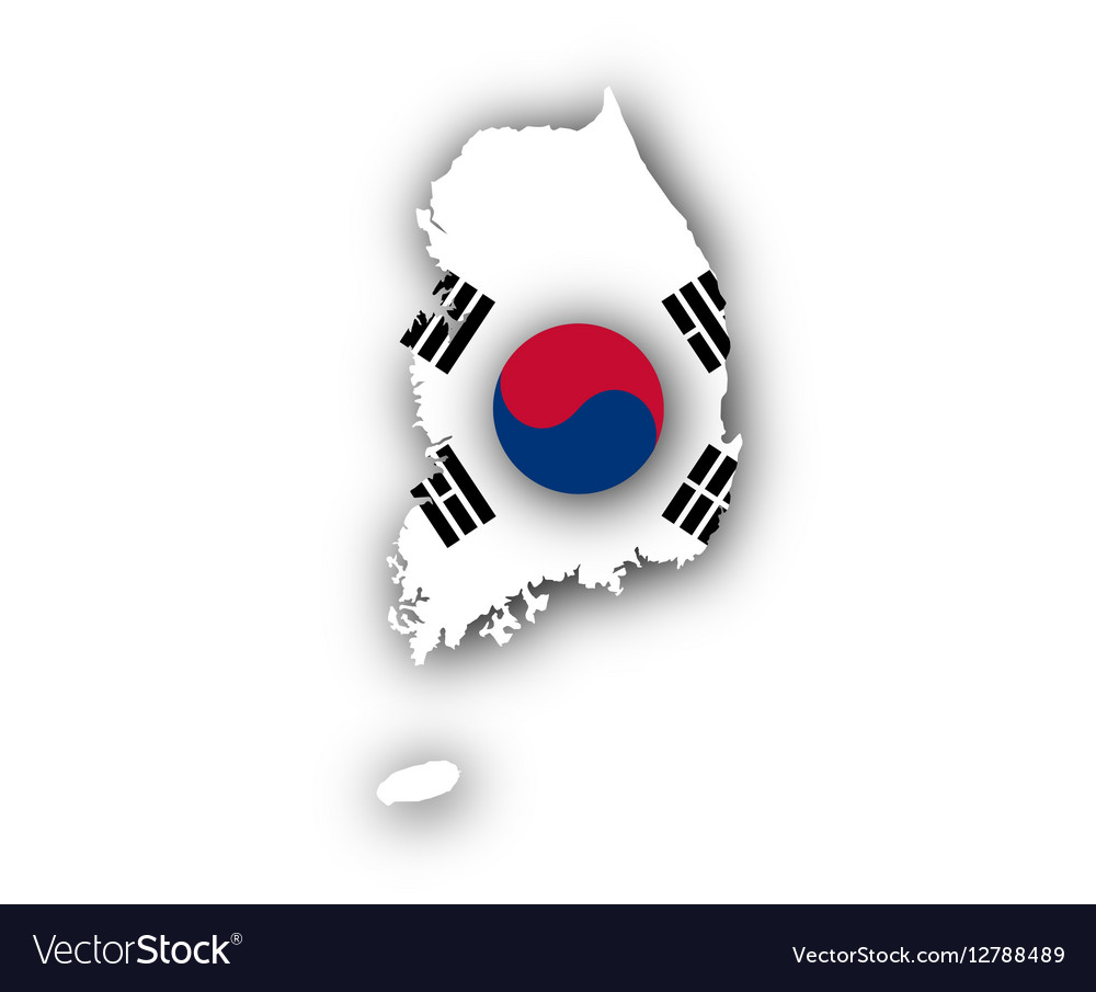 Map and flag of South Korea vector image