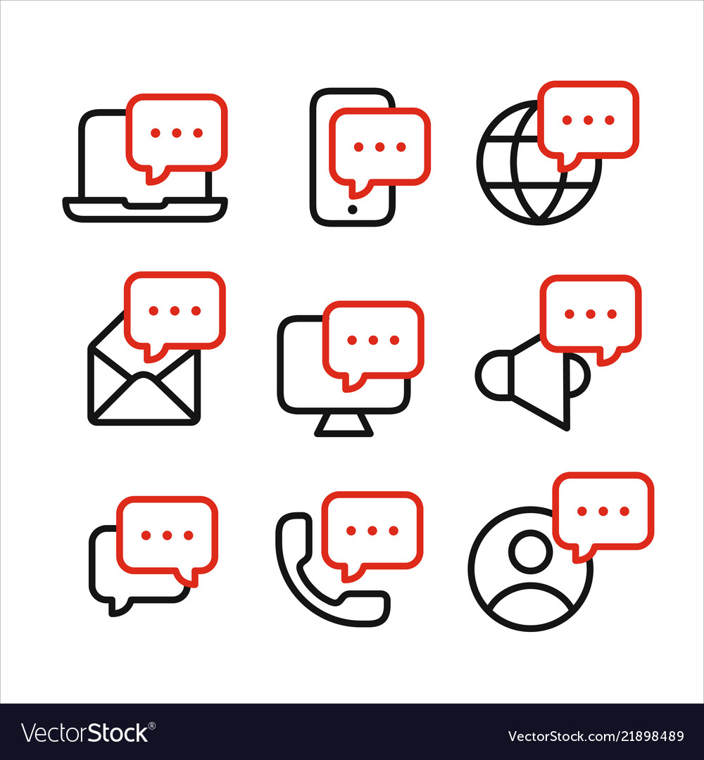 Media and devices symbols with speech bubbles line