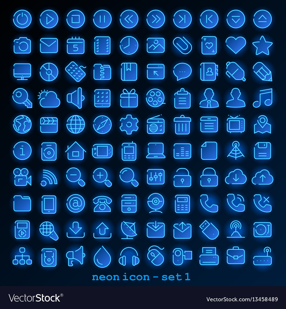 Neon line icon - set 1 vector image