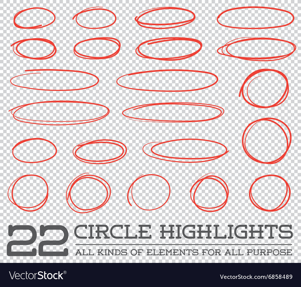 Red Hand Drawn Circles Rounds Bubbles Set