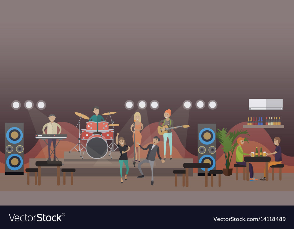 Rock band concert in flat