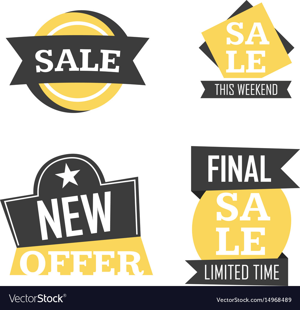 Season sale badges and tags design set for