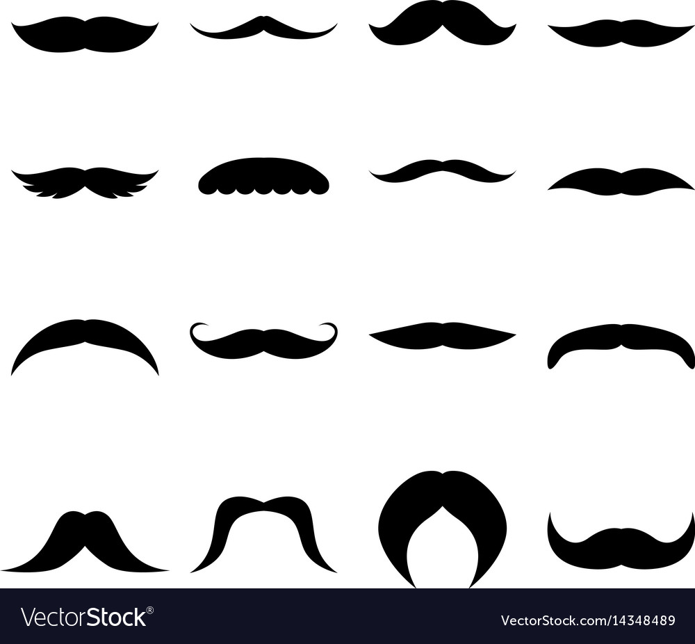 Set of moustaches vector image