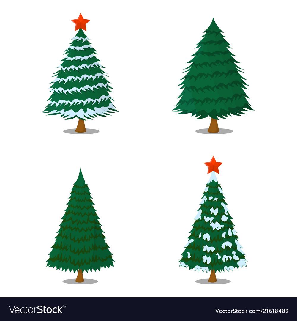 Set of tree xmas isolated icon cartoon style for