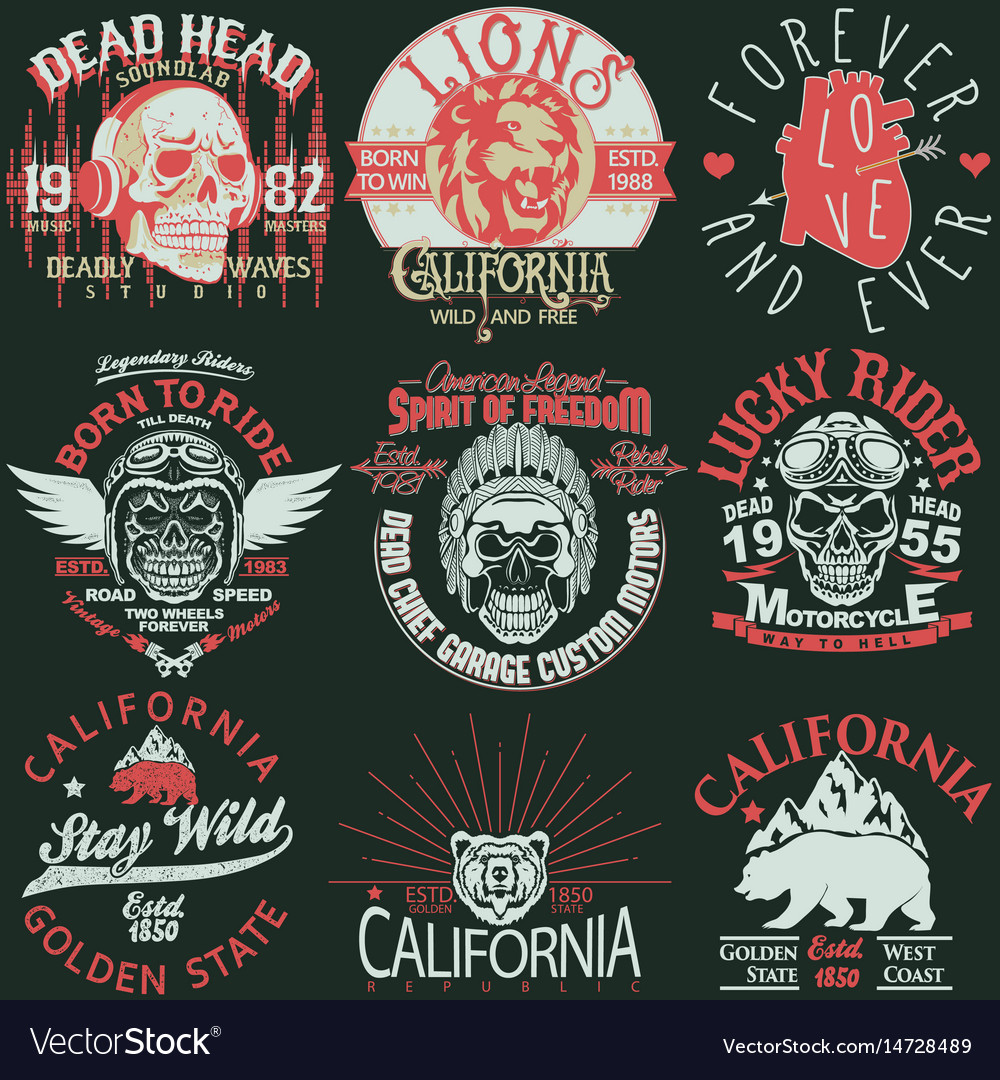 T-shirt stamp graphic set california sport wear vector image
