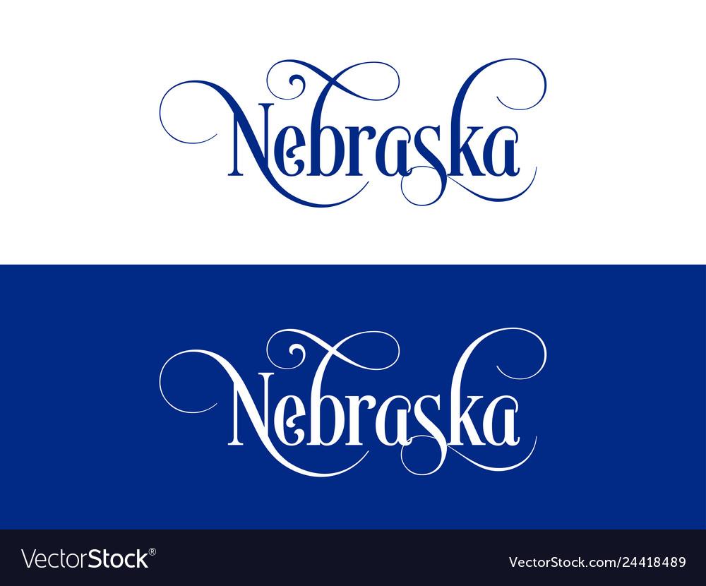 Typography of the usa nebraska states handwritten