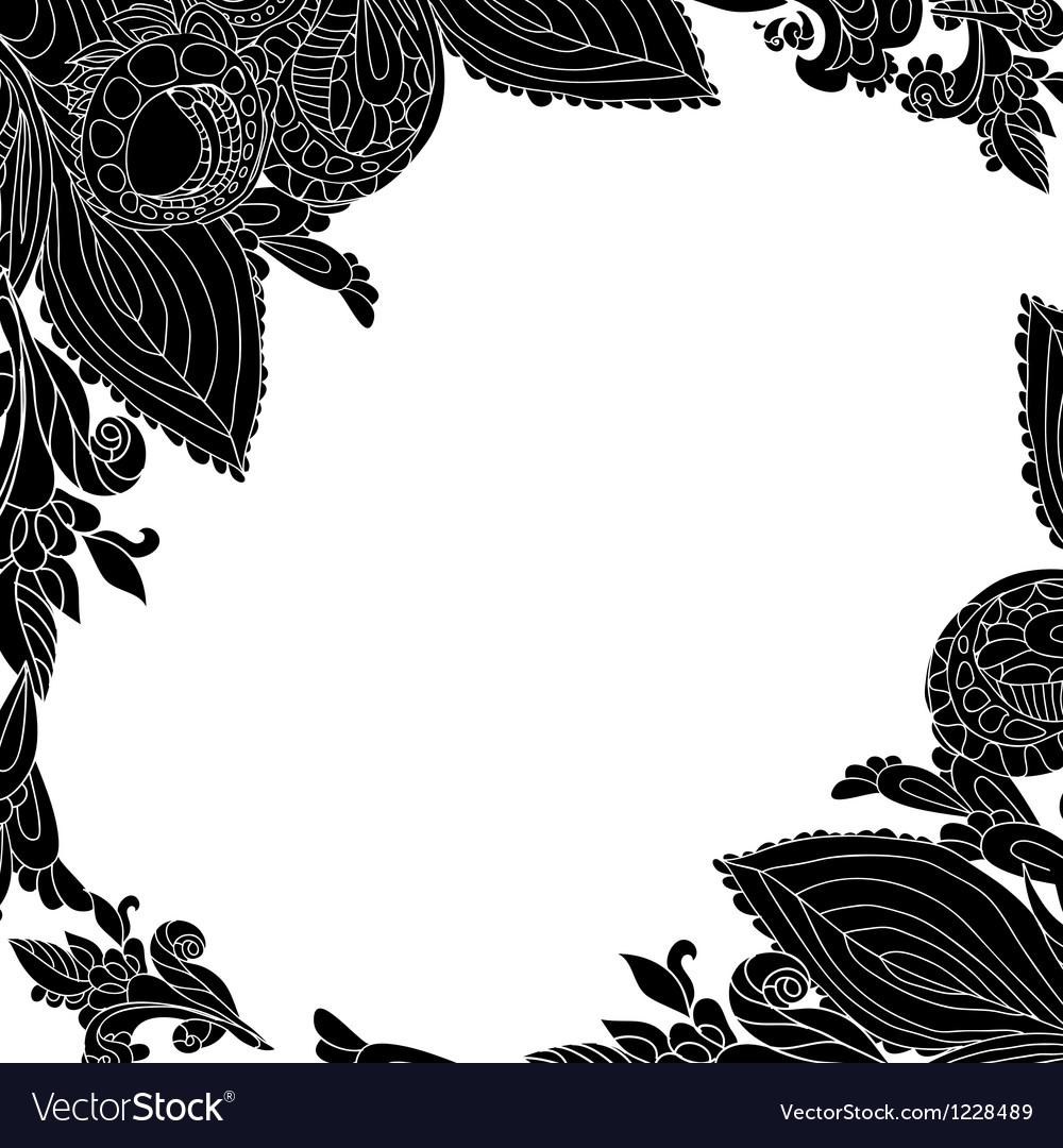 Vintage black floral ornament background vector image