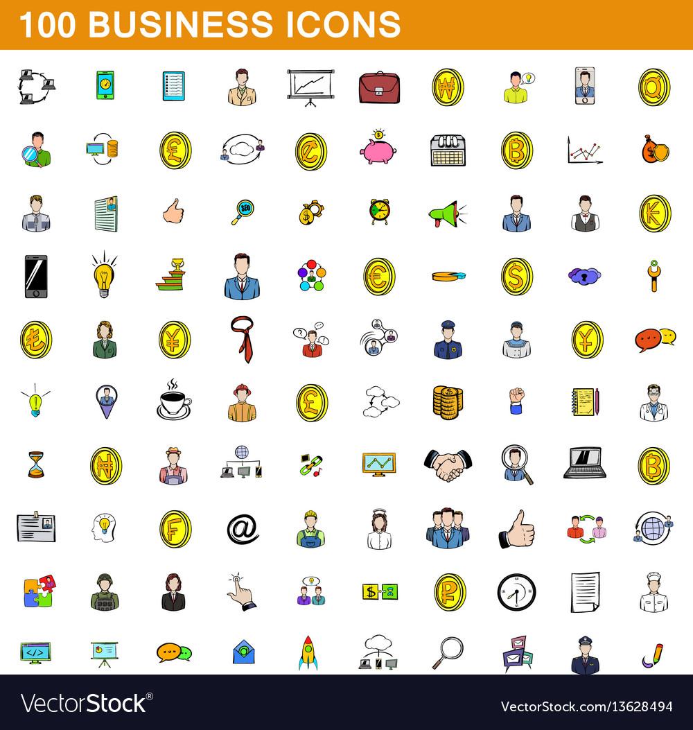 100 business icons set cartoon style