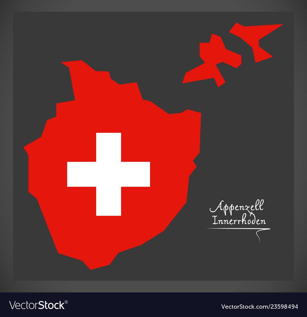 Appenzell innerrhoden map of switzerland with