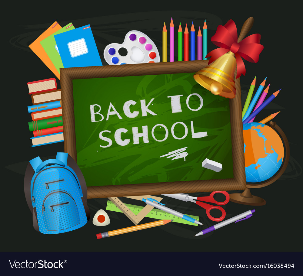 Back to school banner poster greeting card design vector image m4hsunfo