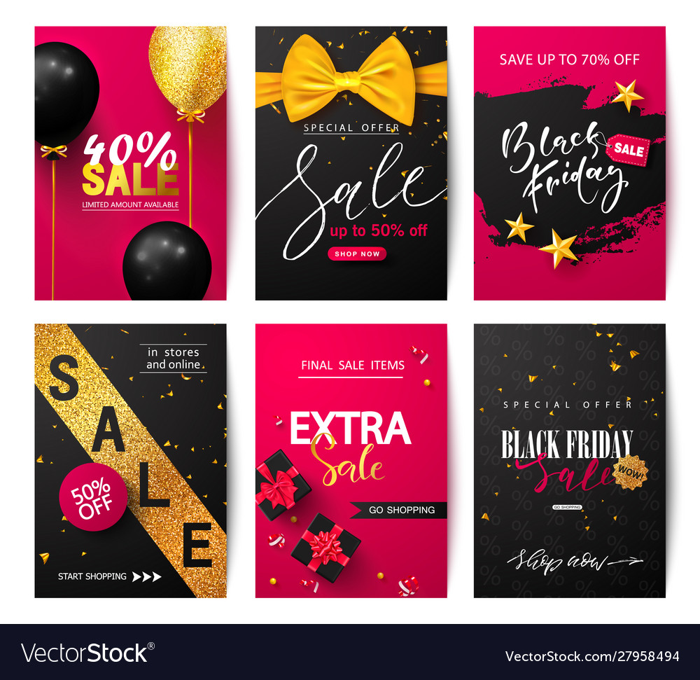 Black friday set sale banners with balloons