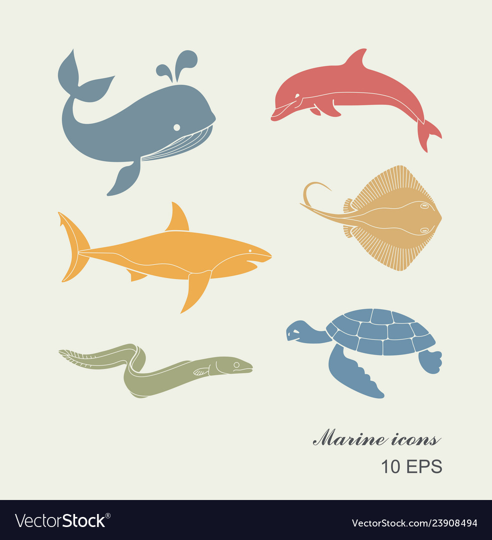 Collection of icons of sea inhabitants in flat