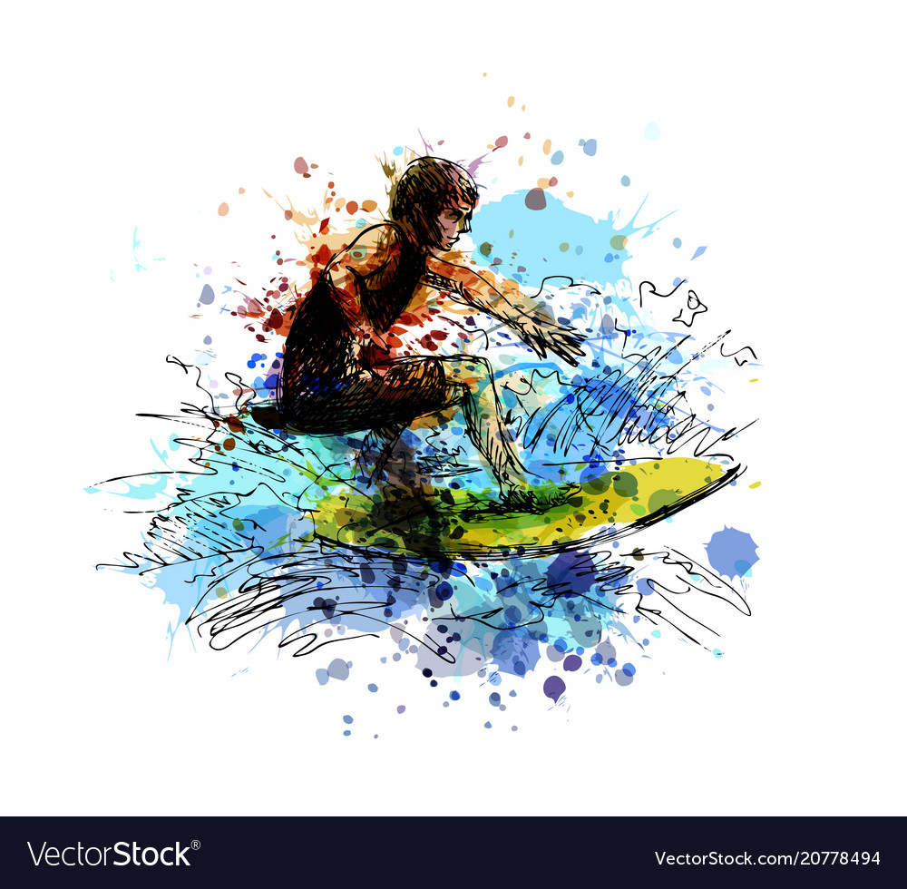 Colored hand sketch surfer