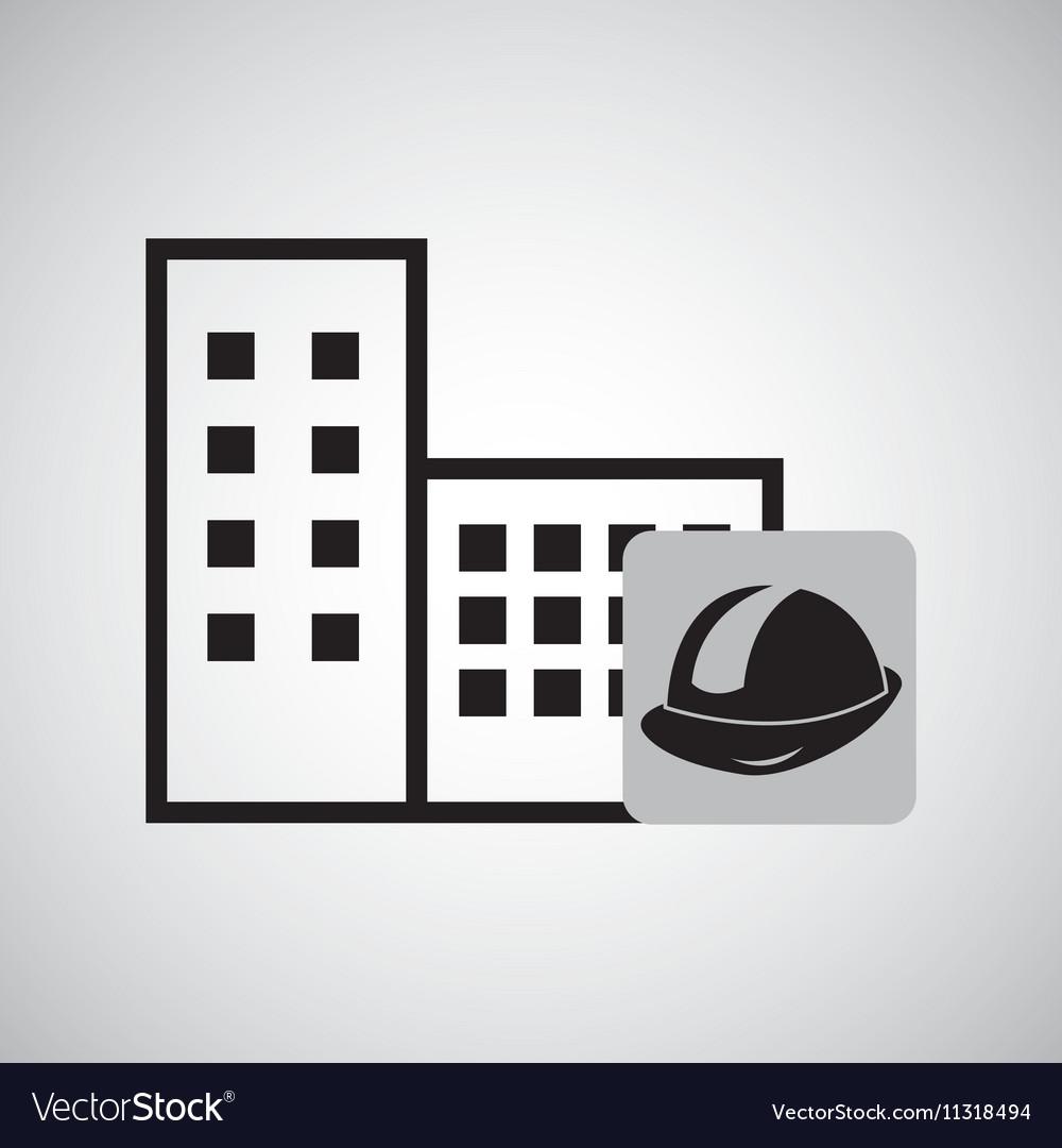 Concept constrcution building helmet icon graphic vector image