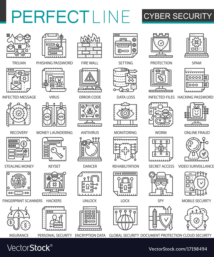 Cyber security outline mini concept symbols vector image