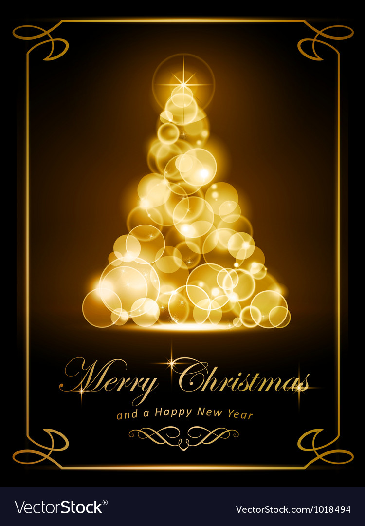 Elegant golden Christmas card vector image