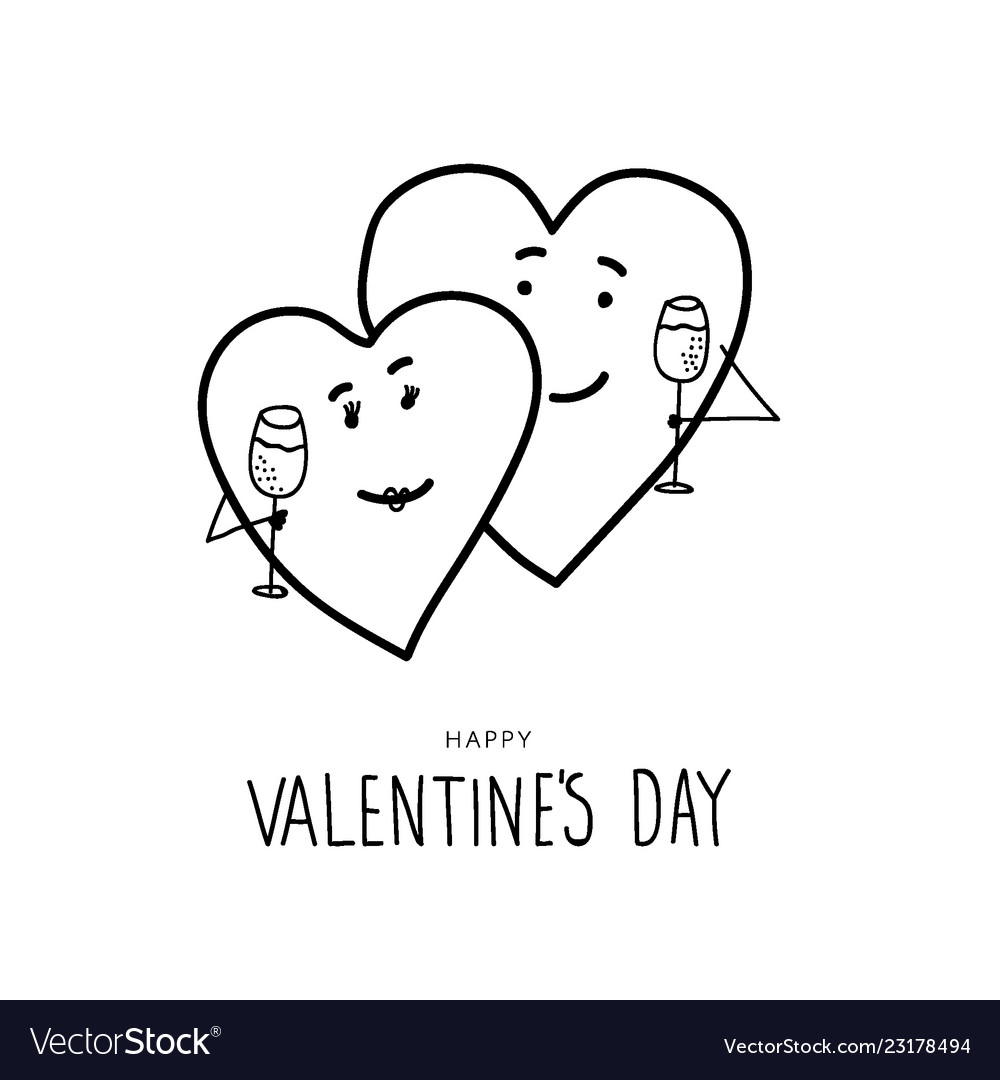 Funny Hand Drawn Valentines Day Hearts Royalty Free Vector