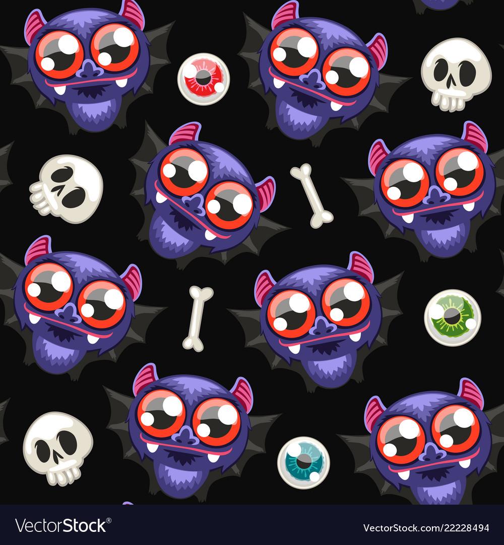 Halloween seamless pattern with bats on dark