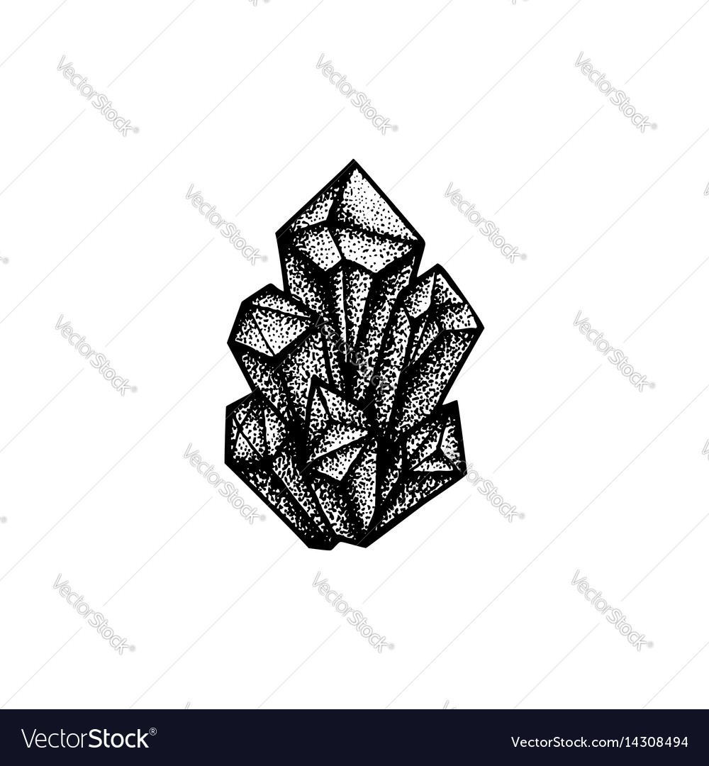 Hand drawn crystals vector image