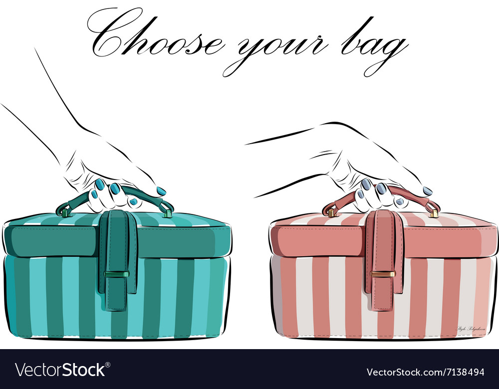 Hand drawn female bag with wide stripes icon vector image